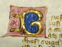 An illuminated letter from the Magna Carta.