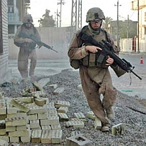US Marines patrolling a Fallujah neighborhood.