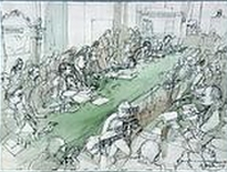 Artist's rendition of McCord's testimony before the Senate Watergate Committee.