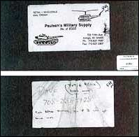 The business card Timothy McVeigh hid under his car seat.
