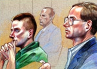 Accused Oklahoma City bombers Timothy McVeigh, left, and Terry Nichols look on as Judge Richard Matsch orders their trials to be severed.