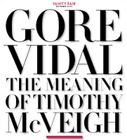 Part of the opening page of Gore Vidal&#8217;s article about Timothy McVeigh in Vanity Fair.