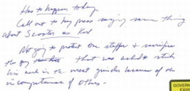 Cheney's original 'meat grinder' note.