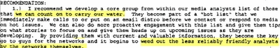 A portion of Merritt's e-mail discussing a 'core group' of analysts to 'carry our water.'