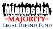 "The Minnesota Majority Legal Defense Fund logo. It is not known if the misspelling of ""defend"" is deliberate."