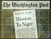 PBS graphic of Washington Post&#8217;s headline for Novak&#8217;s column outing Plame Wilson.