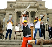 Montana Tea Party protesters stage a demonstration in front of the state capitol in Helena, Montana, in a photo from March 2010.