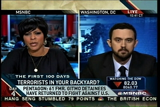 Screen capture of an MSNBC broadcast in which the disputed recidivism claim was made.