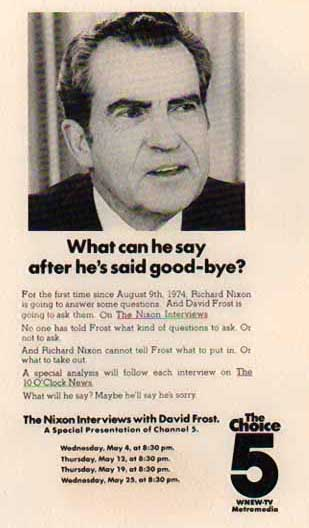 Advertisement for Nixon/Frost interviews.