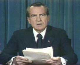 Richard Nixon announcing his resignation to the country.