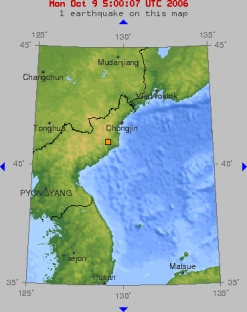 United States Geological Survey graphic showing the location of the North Korea nuclear test. The USGS notes the test as 'seismic activity.'