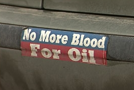 The bumper sticker that led to the removal of three people from the Bush campaign event.