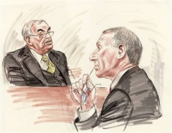 In this courtoom sketch, Lewis Libby, at right, watches Robert Novak testify.