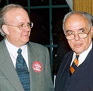 Karl Rove and Robert Novak, 2003. Rove&#8217;s button reads, &#8216;I&#8217;m a Source, Not a Target.&#8217;