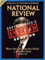 The cover of the current National Review, labeling Tim Johnson an &#8216;Invalid Senator&#8217; and claiming to tell &#8216;How the Democrats Stole a Senate Seat.&#8217; The allegations behind the cover story have already been proven false by the time the story is published on the Internet.