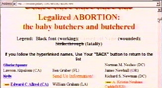 A screenshot of Neal Horsley's 'Nuremberg Files' Web site, showing murdered doctors with their names lined out.