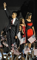 President-elect Obama and his family, acknowledging his election victory. From left: Barack Obama, his daughters Sasha and Malia, and his wife, First Lady-elect Michelle Obama.