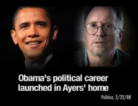 A Web graphic accusing presidential candidate Barack Obama of beginning his political career in the home of college professor William Ayers.