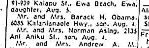 A birth announcement from the August 13, 1961 Honululu Advertiser announcing the birth of a baby boy to the parents of Barack Obama.