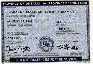 The fake Canadian birth certificate lawyer Philip Berg submitted to 'prove' his contention that President Obama is not an American citizen.