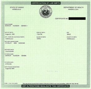 Obama's birth certificate, obtained from the Hawaii Department of Health.