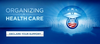 The logo used for the Obama administration's health care proposal on the White House Web site. The logo combines the Obama presidential campaign's 'sunrise' emblem with a stylized version of the medical caduceus.