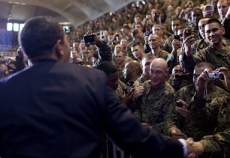 President Obama greets Marines at Camp Lejeune.