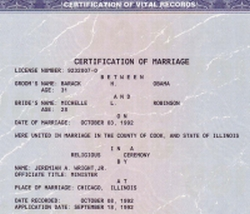 A portion of Barack Obama's marriage certificate. The full-size original can be viewed online.