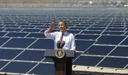 President Obama speaks on the topic of clean energy in front of the Copper Mountain Solar Project in Boulder City, Nevada, in March 2012.