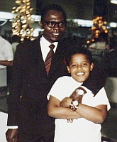 A 1971 photograph of Barack Obama Sr. and Barack Obama Jr.