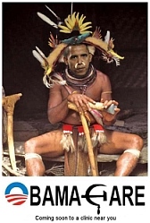 MacKilip's altered photograph of Obama as a witch doctor.