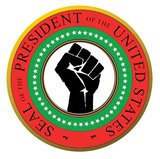 The Washington Times illustrates its column asking if Obama is a 'black nationalist' with this graphic of the Presidential Seal using the Black Panther raised fist and color scheme.