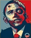 The image of Obama as a bullet-riddled zombie disseminated by a Republican party official in Virginia.