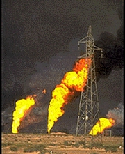 Blazing oil wells in Kuwait.