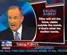 A screenshot of Bill O'Reilly, taken during one of his segments featuring his criticism of Dr. George Tiller.