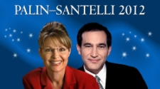 Mockup of a 'Palin-Santelli 2012' campaign poster.