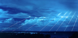 A Peacekeeper test firing at Kwajalein Atoll in the Marshall Islands.