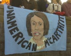 Banner at the Capitol Hill rally depicting House Speaker Nancy Pelosi as an &#8216;Unamerican McCarthyite.&#8217; 