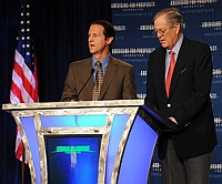 Tim Phillips (L) and David Koch, together at an Americans for Prosperity event.