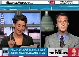 Tim Phillips (r) being interviewed by Rachel Maddow (l).