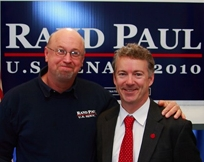 Former campaign coordinator Tim Profitt (left) stands next to Senate candidate Rand Paul (R-KY) in an undated photo.