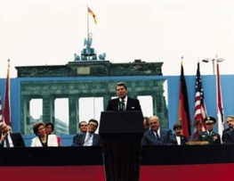 President Reagan speaking before the Brandenberg Gate.