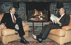 Reagan and Gorbachev at the Geneva summit meeting.