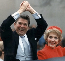 Ronald and Nancy Reagan celebrate winning the presidency.