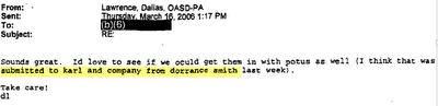 "Memo from Dallas Lawrence citing ""karl and dorrance smith."""