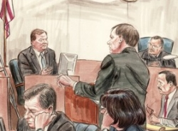 Artist&#8217;s sketch of Tim Russert testifying in the Libby trial.