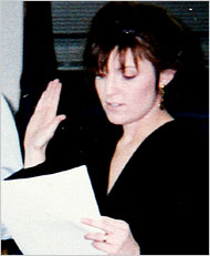 Sarah Palin, taking the oath of office as mayor, 1997.