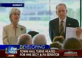 Fox News covers the Sebelius/Specter town hall meeting.