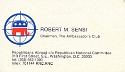 Robert Sensi&#8217;s membership card in Republicans Abroad.