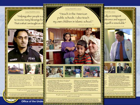 Print ad for the 'Shared Values' videotapes. The videos are distributed by the Council of American Muslims for Understanding (CAMU), an organization created by the US State Department.
